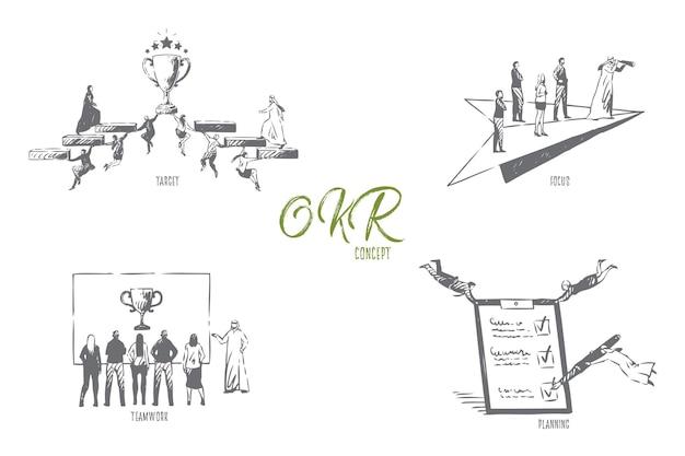 Bosquejo del concepto de planificación de trabajo en equipo de enfoque de destino