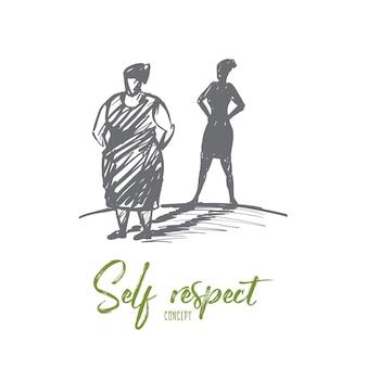 Bosquejo del concepto de respeto propio dibujado a mano