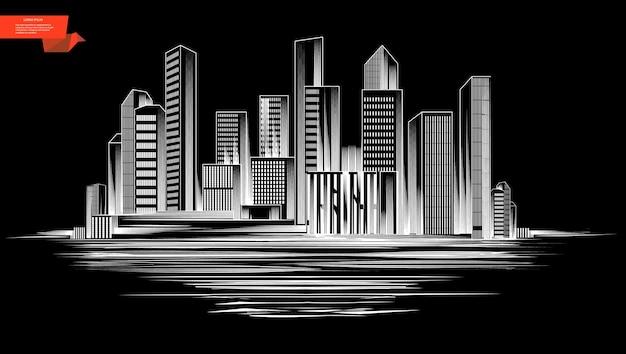 Bosquejo del concepto de silueta de ciudad moderna