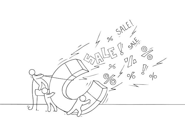 Bosquejo del concepto de venta. doodle linda miniatura de trabajo en equipo y gran imán.