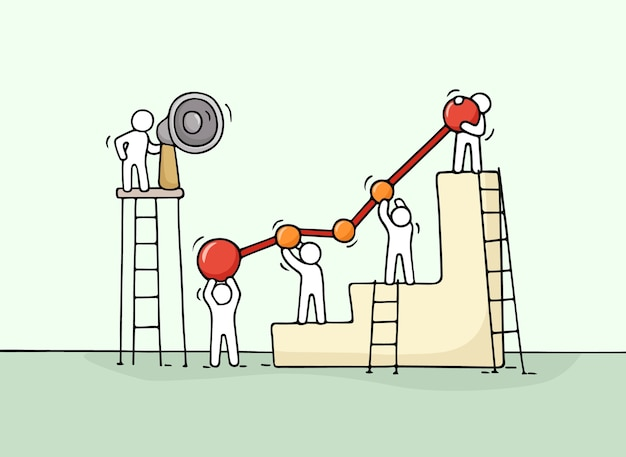 Bosquejo del diagrama con gente trabajadora. doodle lindo trabajo en equipo en miniatura. ilustración de dibujos animados dibujados a mano para diseño de negocios e infografía.