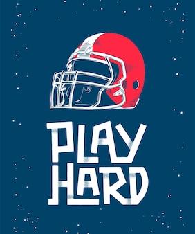 Bosquejo dibujado mano del casco de fútbol americano rojo