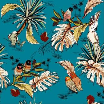 Bosquejo dibujado mano tropical retro con loros exóticos