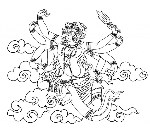 Bosquejo del dibujo de la mano de la literatura del patrón del mono tailandés del arte