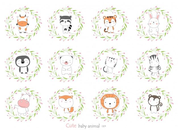 Bosquejo de dibujos animados del animalito lindo bebé con borde de flores. estilo dibujado a mano.