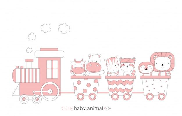 Bosquejo de dibujos animados del animalito lindo bebé en el tren. estilo dibujado a mano.