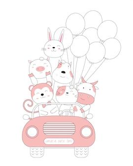 Bosquejo de dibujos animados de los lindos animalitos con el coche. estilo dibujado a mano.