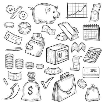 Bosquejo de dinero y banca. billete de dólar dibujado a mano y moneda, hucha y gráfico de negocios. cartera, conjunto de vectores de inversión financiera de barra de oro, objetos financieros como tarjeta de crédito, maletín
