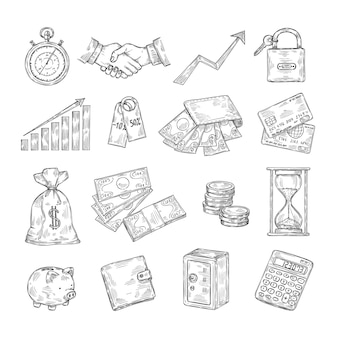 Bosquejo de dinero. dibujado a mano moneda pila hucha tarjetas de crédito seguro dólar vintage banca negocios finanzas doodle iconos