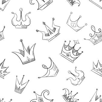 Bosquejo del doodle coronas de patrones sin fisuras. bosquejo del patrón de la corona, ilustración de la corona de dibujos animados de princesa