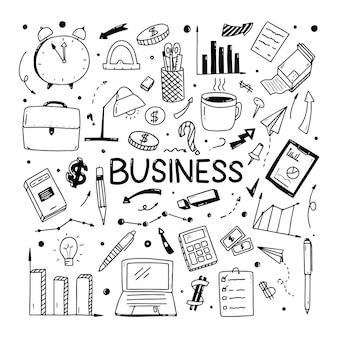 Bosquejo del doodle de negocios de clientes potenciales de marketing. elementos de los iconos de negocios.