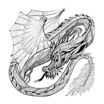 Bosquejo, dragón, ilustración