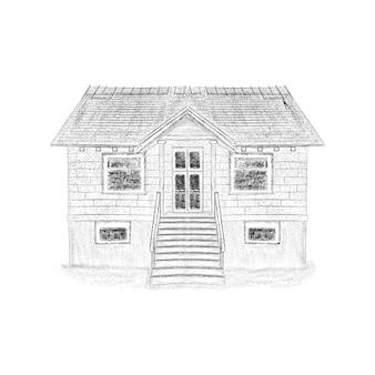 Bosquejo drenado mano de la ilustración de la casa.