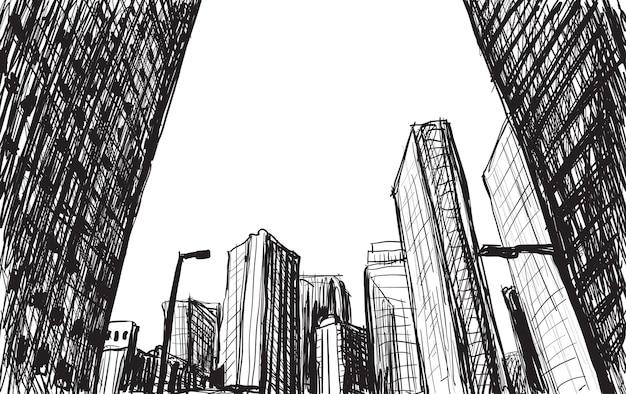 Bosquejo del edificio del paisaje de la ciudad en tokio dibujar a mano ilustración