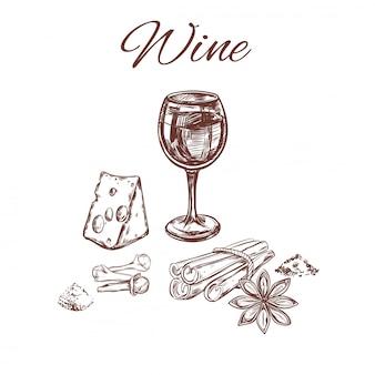 Bosquejo de especias para el concepto de vino