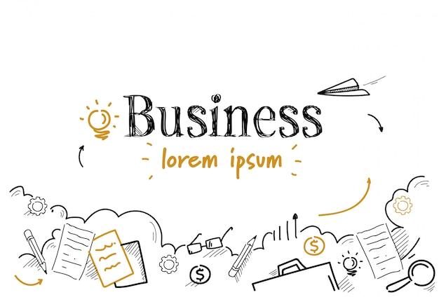 Bosquejo de estrategia de negocios exitoso doodle aislado