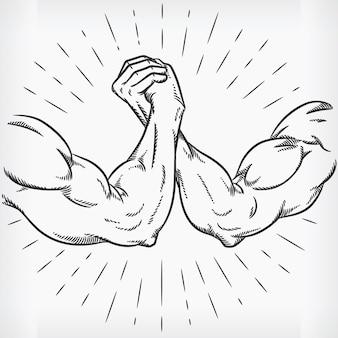 Bosquejo, fuerte, lucha del brazo, lucha, garabato