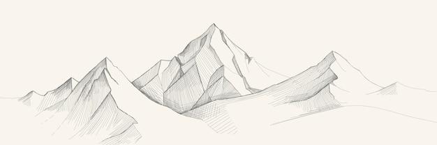 Bosquejo de la gama de montañas, estilo de grabado, dibujado a mano.