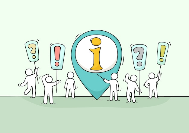 Bosquejo de gente trabajadora con signo de información. doodle linda escena en miniatura de trabajadores tratando de resolver un problema. ilustración de dibujos animados dibujados a mano para diseño de negocios.