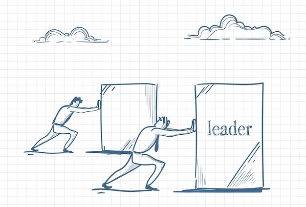 Bosquejo de hombres empujando el liderazgo