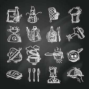Bosquejo de los iconos de cocina