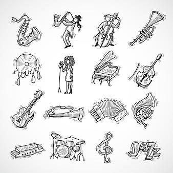 Bosquejo de iconos de jazz