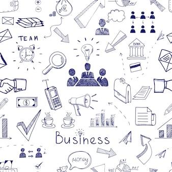 Bosquejo de iconos de negocios