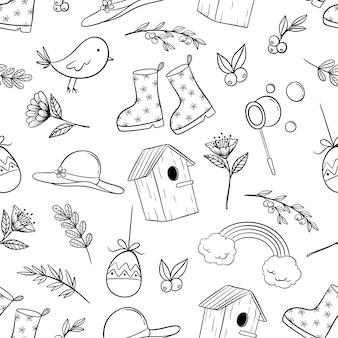 Bosquejo de los iconos de primavera en patrones sin fisuras