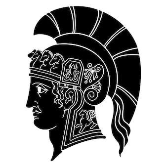 Bosquejo de ilustración en monocromo de gladiator spartan