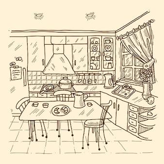 Bosquejo del interior de la cocina
