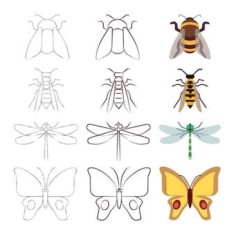 Bosquejo, línea y colección de insectos planos.