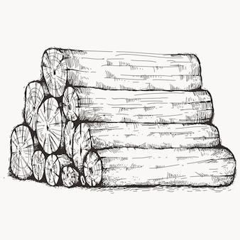 Bosquejo de madera de registro apilado