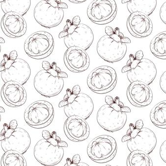 Bosquejo de mangostán exótico de patrones sin fisuras.