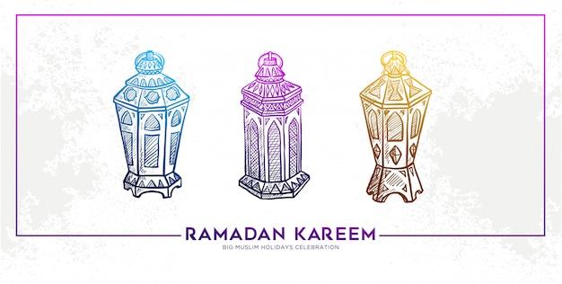 Bosquejo de la mano dibujada banner ramadan kareem lantern