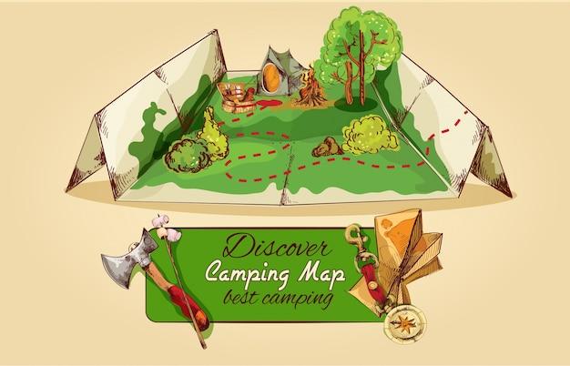 Bosquejo del mapa de camping