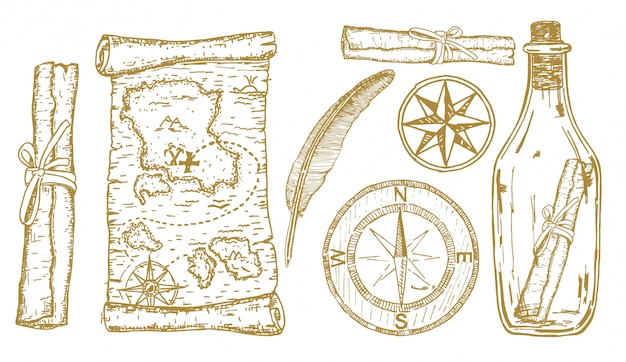 Bosquejo del mapa del tesoro. artículos de aventura: brújula, mapa del tesoro en una botella. conjunto dibujado a mano de viajes y aventuras