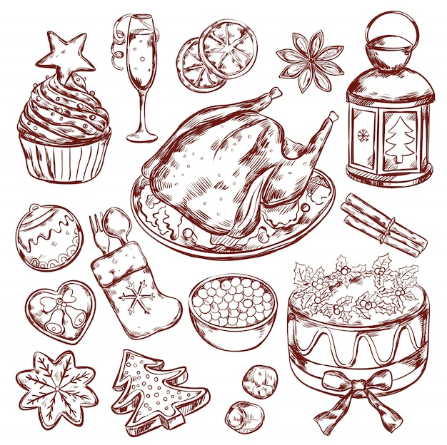 Bosquejo del menú de comida de navidad