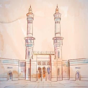 Bosquejo de la mezquita masjid al haram en la meca, arabia saudita