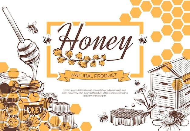 Bosquejo, de, miel, plano de fondo