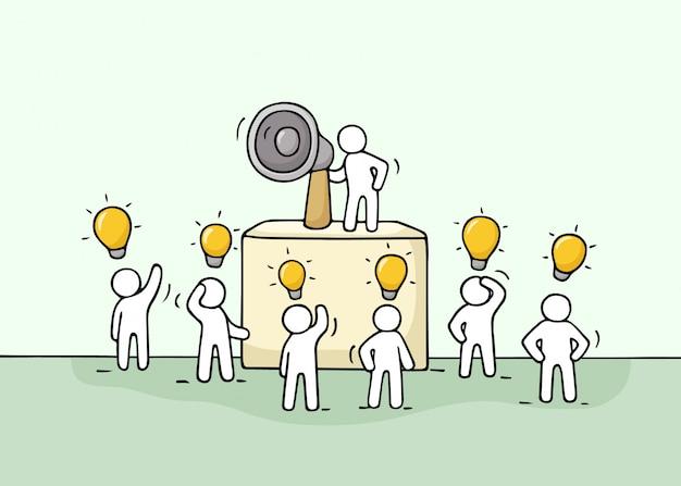 Bosquejo multitud de pequeñas personas con la idea de la lámpara.