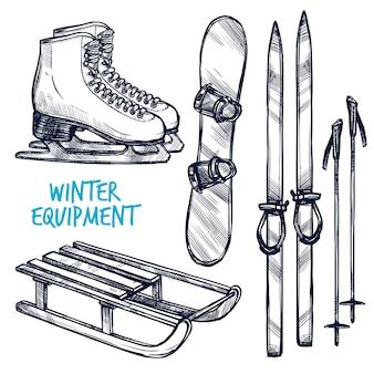 Bosquejo de objetos deportivos de invierno