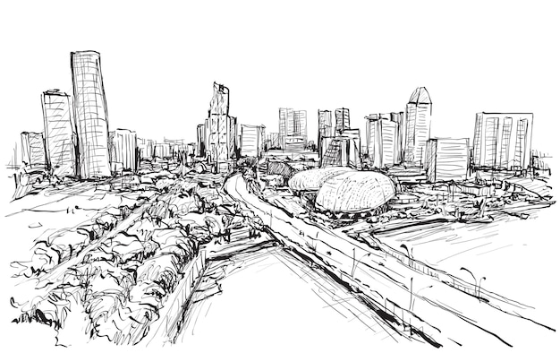 Bosquejo del paisaje de la ciudad del horizonte de singapur