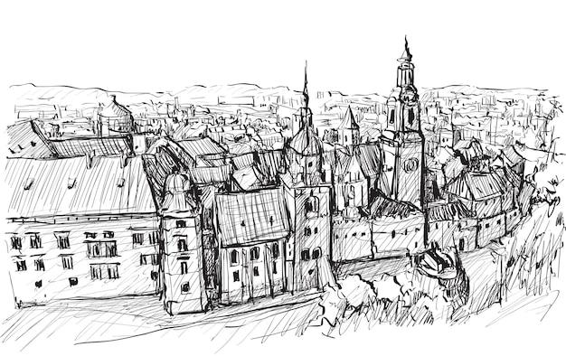 Bosquejo paisaje de la ciudad polonia cracovia torres del castillo
