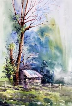 Bosquejo del paisaje de la naturaleza de la acuarela en la ilustración dibujada a mano
