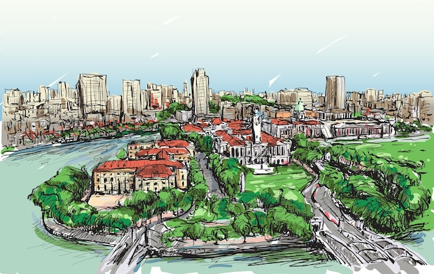 Bosquejo del paisaje urbano del horizonte del edificio de singapur, ilustración de sorteo a mano alzada