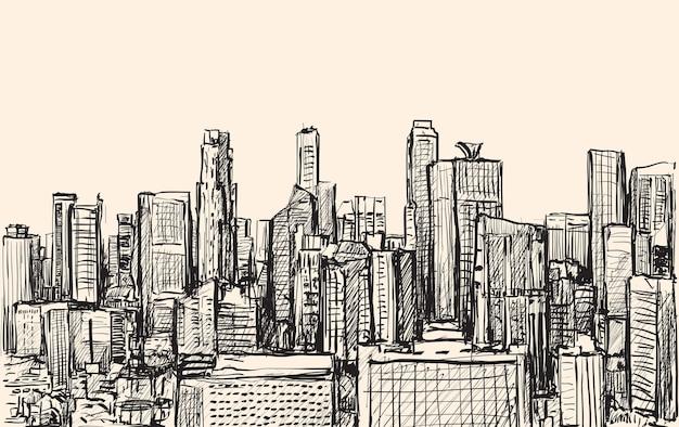 Bosquejo del paisaje urbano del horizonte del edificio de singapur