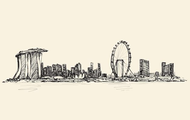 Bosquejo del paisaje urbano del horizonte de singapur