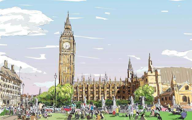Bosquejo del paisaje urbano de londres, el big ben y las casas del parlamento con los pueblos en el espacio público, ilustración