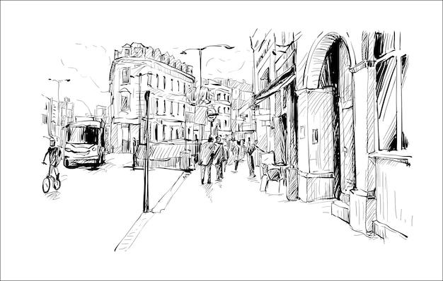 Bosquejo del paisaje urbano en londres muestran paseo y arquitectura antigua, ilustración