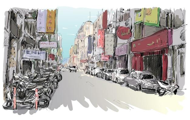 El bosquejo del paisaje urbano en taiwán muestra el mercado urbano de la vista de la calle en taipei, ilustración